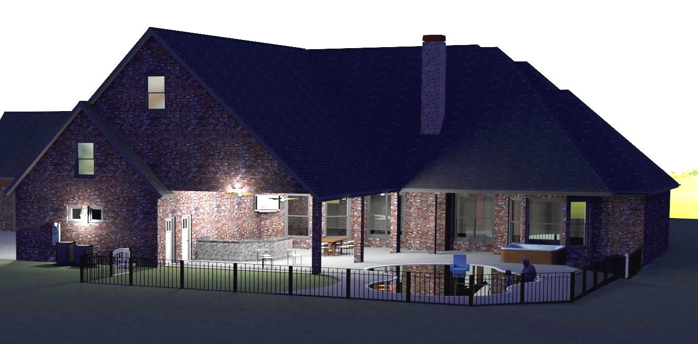 night view of pool exterior-remodel-3-d-render